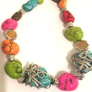 Chunky Necklace Pink Red Blue Orange Green Stones